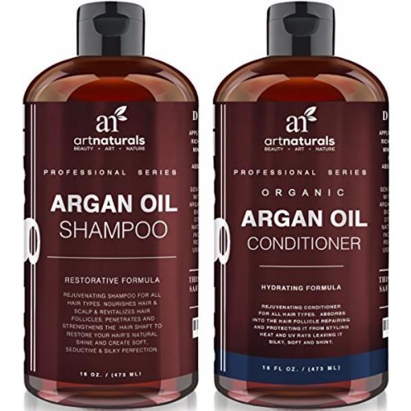 Art Naturals Organic Moroccan Argan Oil Shampoo And Conditioner Has Vitamin E And B Complex Adds