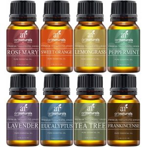 Art Naturals Top 8 Essential Oil Set 100% Therapeutic Grade Oils; All Natural; Perfect Gift