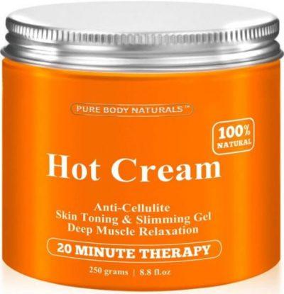 Pure Body Naturals Hot Cream Anti-Cellulite Cream, Muscle Relaxation Cream 8.8oz