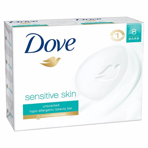 MOC | Dove Sensitive Skin Beauty Bar; 8 bars, Dermatologist Recommended Best for Sensitive Skin; 1/4 Moisturizers; Hypoallergenic