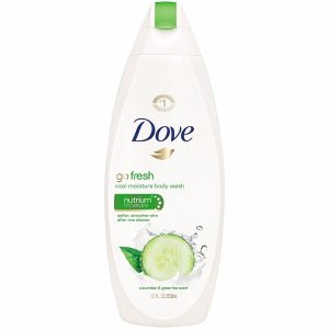 Dove Go Fresh Body Wash in Cool Moisture; 22 Fl. oz. Cucumber and Green Tea Scent; Moisturizes as it Cleans