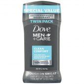 Dove Men+Care Antiperspirant Deodorant Stick in Clean Comfort scent 2.7 oz. Twin Pack