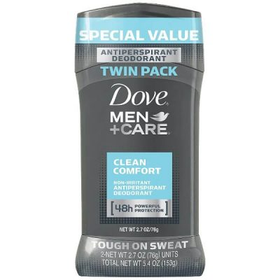 Dove Men+Care Antiperspirant Deodorant Stick in Clean Comfort scent 2.7 oz. Twin Pack