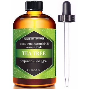 Pure Body Naturals Tea Tree Essential Oil Natural Way to Fight Acne, Dandruff, and Eczema