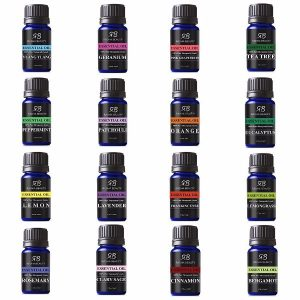Radha Beauty Aromatherapy 16 Essential Oils; Biggest Collection of Essential Oils; Lavender, Tea tree, Peppermint, Lemongrass, Orange, Eucalyptus, Rosemary, Frankincense, Lemon, Bergamot, Ylang-ylang, Patchouli, Geranium, Grapefruit, Cinnamon, Clary Sage