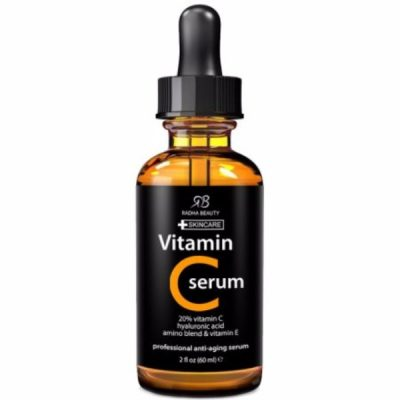 Radha Beauty Vitamin C Serum for Face; Daily Vitamin C Boost; Organic Vitamin C and E; Hyaluronic Acid