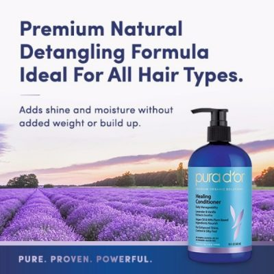 PURA D'OR Lavender and Vanilla Argan Oil Healing Conditioner; Premium Natural Formula; Gentle and Smooth Blend of Extracts and Oils; Pure Blend or Nature for Hair Strength and Shine