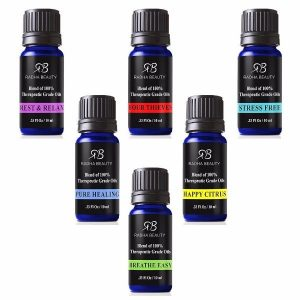 Radha Beauty Essential Oils Blend Set For Aromatherapy; Top 6 Synergy Blend Essential Oils; Contains special blends such as Four Thieves, Stress Free, Rest & Relax, Breathe Easy, Pure Healing, and Happy Citrus.