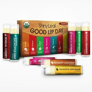 Shiny Leaf Good Lip Day Organic Lip Balm Set; Seven Flavors for Every Day of the Week; Moisturize, Repair and Protect from Chapped & Dry Lips; USDA Certified Organic; Contains All Organic Ingredients