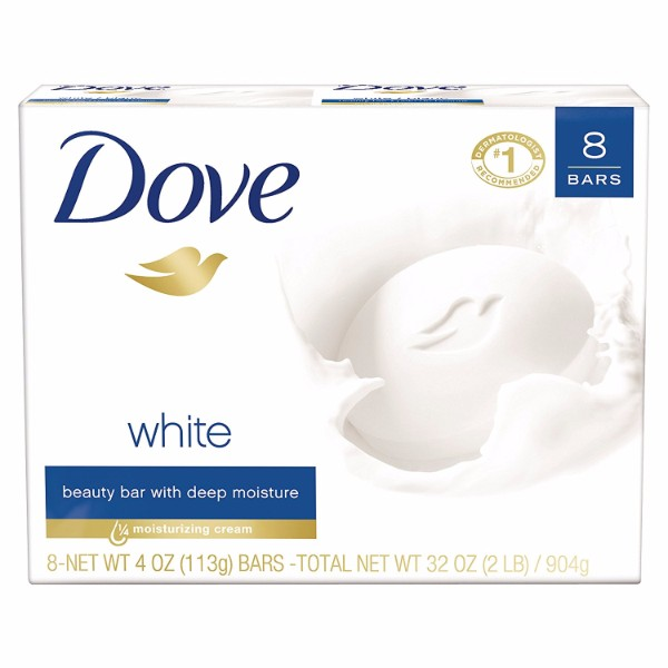 MOC | Dove Beauty Bar 8 White Bar; With ¼ Moisturizing Cream; Top Product Recommended by Dermatologists; Mild Formula for Gentle Cleansing