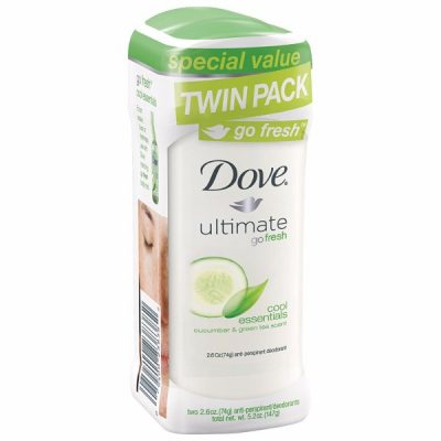 Dove Go Fresh Antiperspirant Deodorant Cool Essentials; With Dove ¼ Moisturizer; Twin Pack for Longer-Lasting Underarm Care