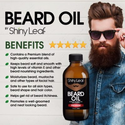 Shiny Leaf Beard Oil; Premium Blend of Essential Oils for Beard & Mustache; Nourishes and Softens Facial Hair; Protects Skin from Irritation and Itching