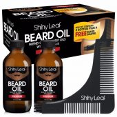 Shiny Leaf Beard Oil Box Set; Perfect Grooming and Styling Kit for Beards & Mustaches; Set of 2 Premium Beard Oils; Bonus Beard Shaper Accessory