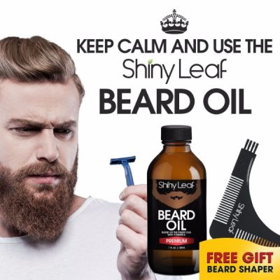 Shiny Leaf Beard Oil Grooming Set; Premium Blend of Beard Oil; High-Quality Multi-Purpose Shaper; Easy Grooming for All Facial Hair Types