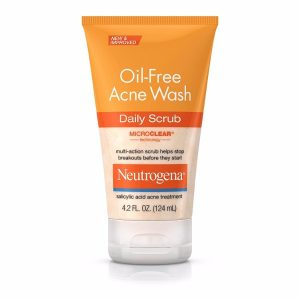 Neutrogena Oil-Free Acne Wash Treatment; Gentle Daily Scrub with Salicylic Acid; Microclear Technology for Boosted Effects