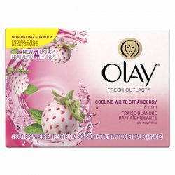 Olay Fresh Outlast Cooling White Strawberry and Mint Beauty Bar; 4 Bars in One Package; With Lasting Scent and Moisture