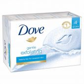 Dove Beauty Bar Gentle Exfoliating 4 Bar; With ¼ Moisturizing Cream; Exfoliating Beads for Clearer and Smoother Skin