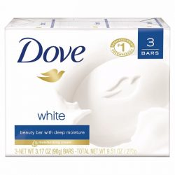 Dove Beauty Bar White; With ¼ Moisturizing Cream; Gentle Cleansing for Soft and Smooth Skin; Pack with 3 Beauty Bars