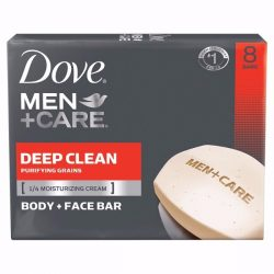 Dove Men+Care Body and Face Bar Deep Clean 8 Bar; With Micro-Beads for Gentle Exfoliation; With ¼ Moisturizing Cream for Softer Skin