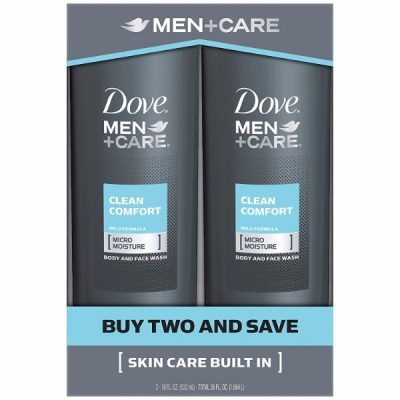 Dove Men+Care Body and Face Wash Twin Pack; Clean & Comfortable Feeling; With Crisp and Refreshing Scent