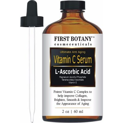 First Botany Cosmeceuticals Vitamin C Serum with L'Ascorbic Acid; Gentle Anti-Aging Formula; With Vitamin E for Boosted Collagen Production