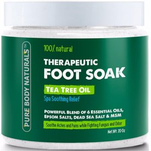 Pure Body Naturals Foot Soak with Tea Tree Oil; Soothing Relief from Pain; Fights Odor and Fungus; With Powerful Essential Oils Blend