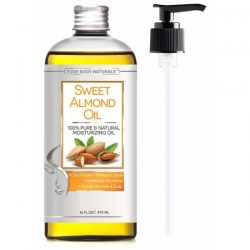 Pure Body Naturals Sweet Almond Oil; Premium Oil for Skin and Hair Care; Prevents Hair Breakage and Delays Signs of Skin Aging