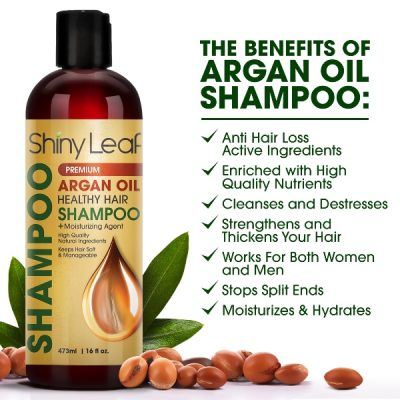 Shiny Leaf Premium Argan Oil Shampoo; With High-Quality Argan Oil for Thicker and Stronger Strands; For Softer Manageable Hair