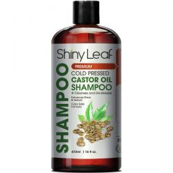 Shiny Leaf Castor Oil Shampoo; Cleanses Hair and Scalp; Color Safe Formula; Improves Hair Shine and Texture