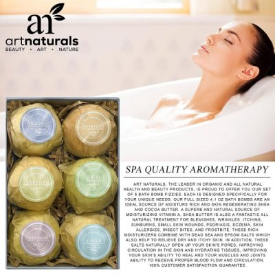 ArtNaturals Bath Bombs Gift Set; Moisturizing Products in a Box; Infused with Essential Oils
