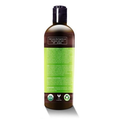 Sky Organics Cold-Pressed Organic Castor Oil; Free from Hexane; For Hair and Eyelashes