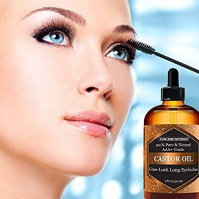 Pure Body Naturals Organic Castor Oil with Applicator Kit; For Healthy Growth of Eyebrows & Lashes; Moisturizes Skin and Hair