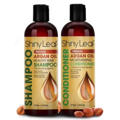 Shiny Leaf Argan Oil Shampoo and Conditioner Set; Improves Hair Health and Strength; For Smooth and Frizz-Free Hair