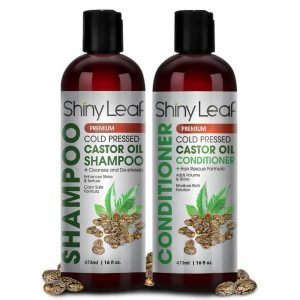 Shiny Leaf Castor Oil Shampoo and Conditioner Set; For Soft and Manageable Hair; Gives Hair Extra Shine and Volume