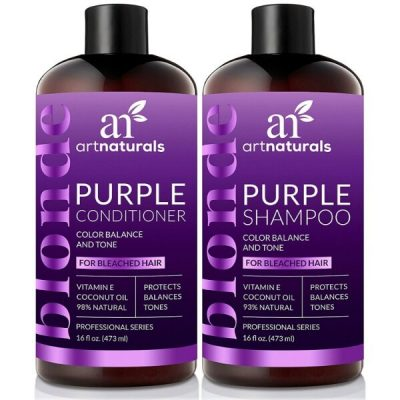 Art Naturals Purple Shampoo and Conditioner Set; For Shiny and Vibrant Hair; Safe for Blondes and Silver Hair