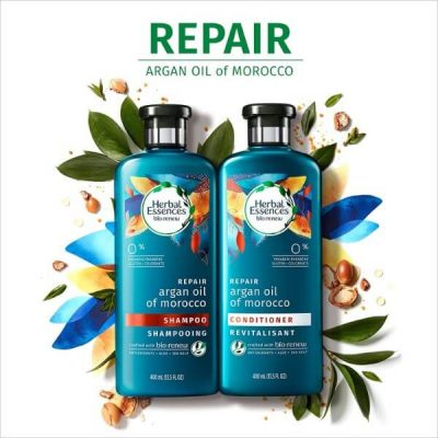 Herbal Essences Biorenew Argan Oil of Morocco Shampoo and Conditioner Bundle; For Dry and Damaged Hair; Color-Safe Formulas