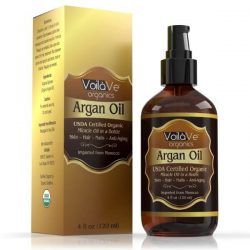 VoilaVe Virgin USDA Organic Moroccan Argan Oil; For Skin, Hair, & Nails; Cold-Pressed and Unrefined Oil