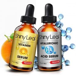 Shiny Leaf Anti-Aging Serum Set; Vitamin C Serum and Hyaluronic Acid Serum; Antioxidant Rich Serums; For Healthier Skin