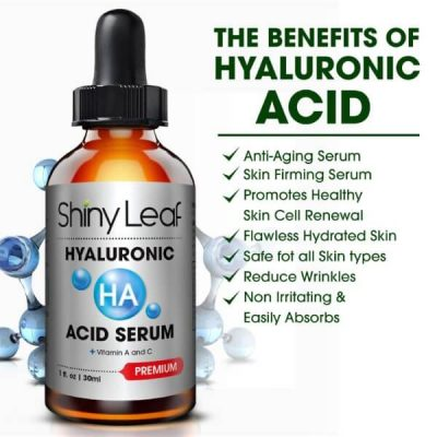 Shiny Leaf Hyaluronic Acid Serum; With Vitamin C and A; Anti-Aging Formula; Brightens Skin and Minimizes Pores